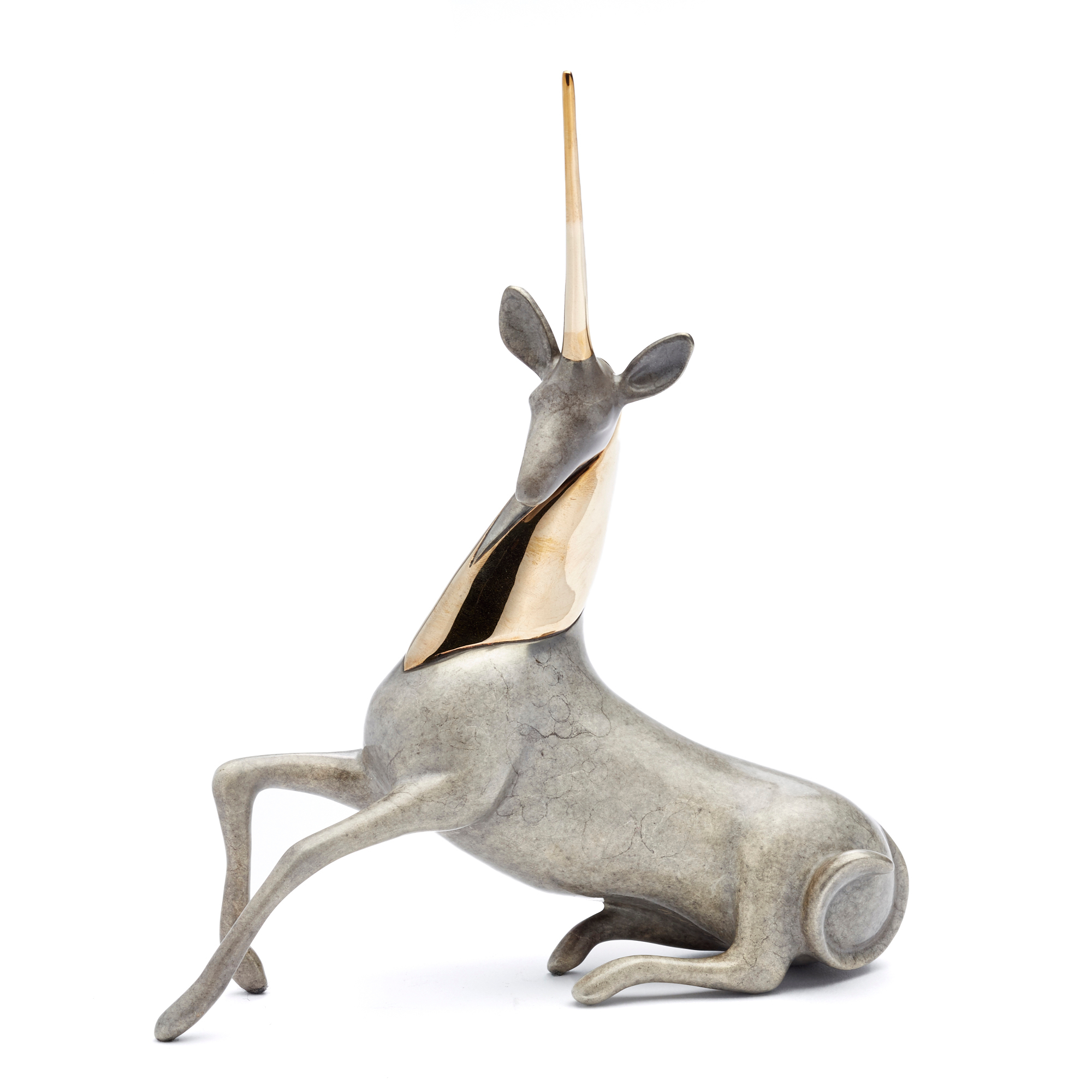 Loet Vanderveen Unicorn In Silver Bronze Figure