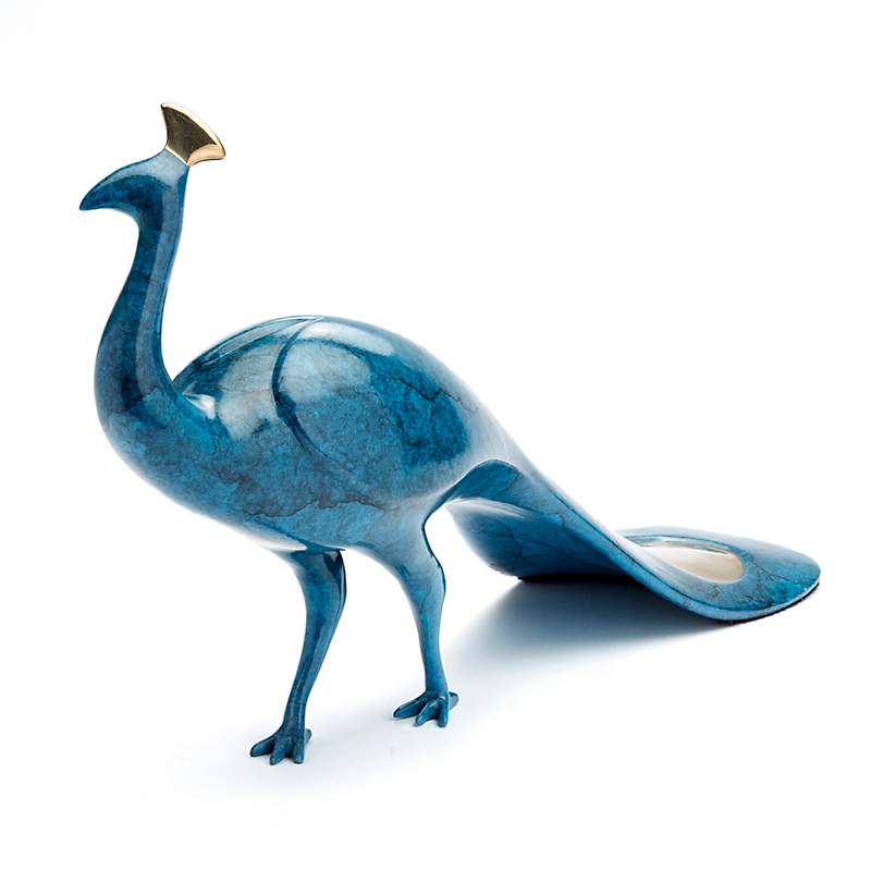 Loet Vanderveen Peacock In Aegean Blue Bronze Figure