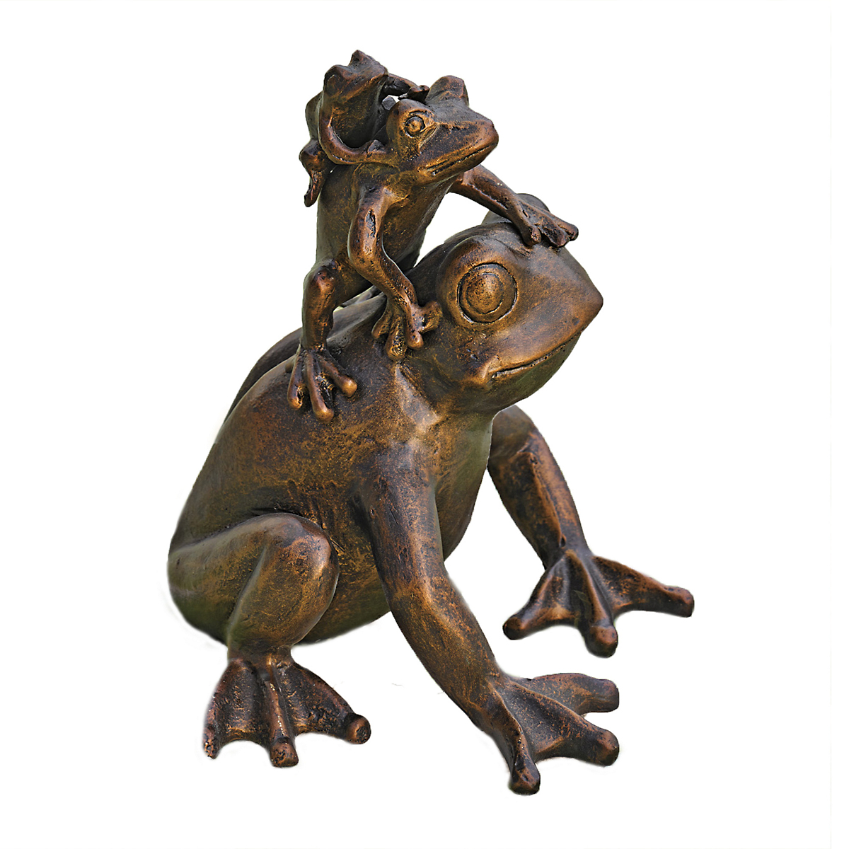 Triple Stacked Bronze Frogs Garden Statue