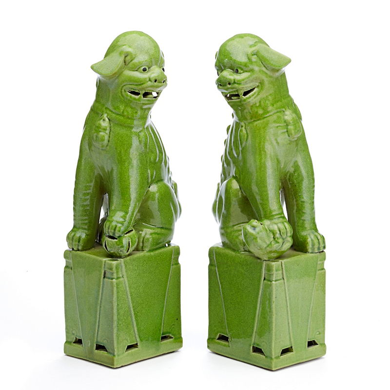 Green Porcelain Foo Dogs