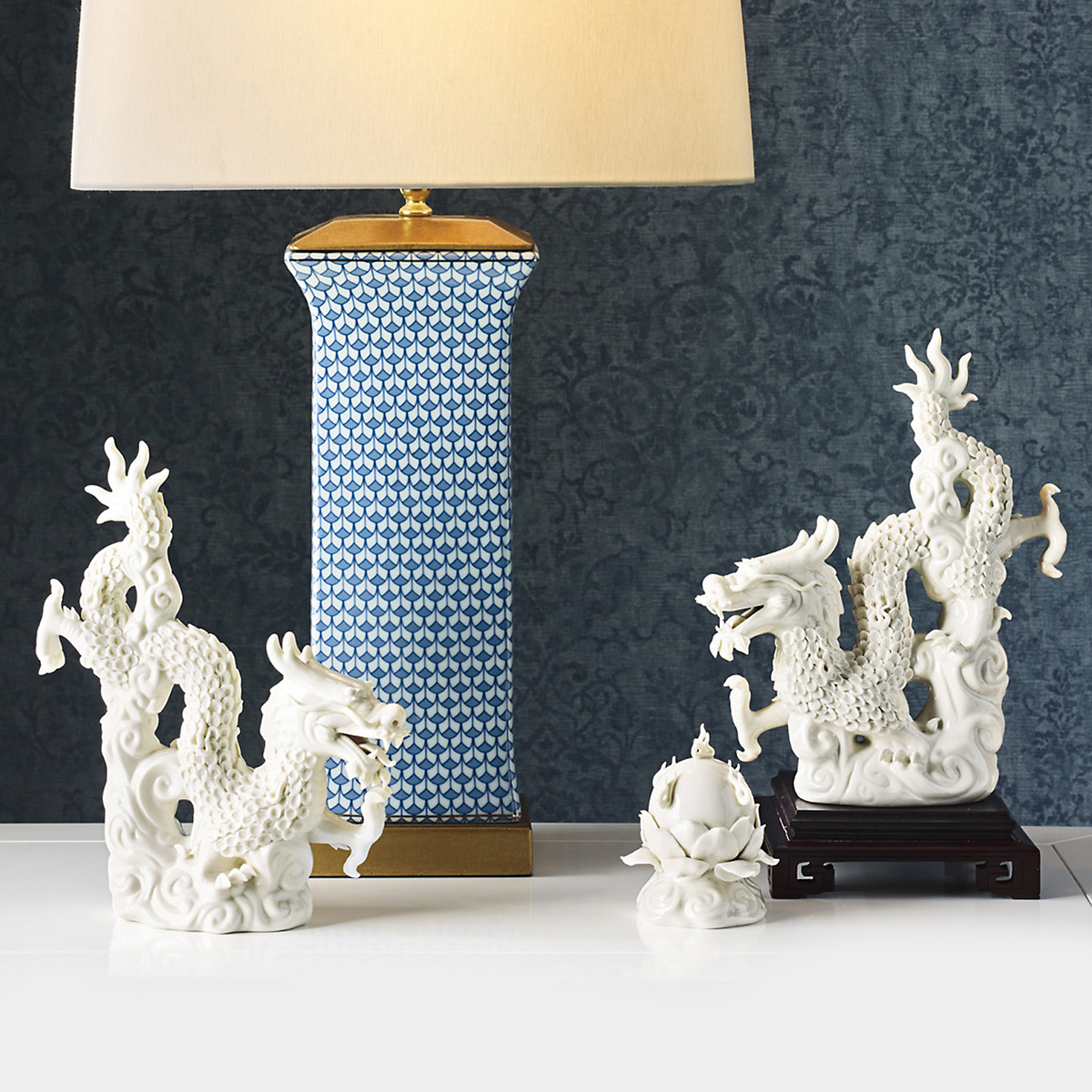 White Porcelain Dragons, Set Of 3