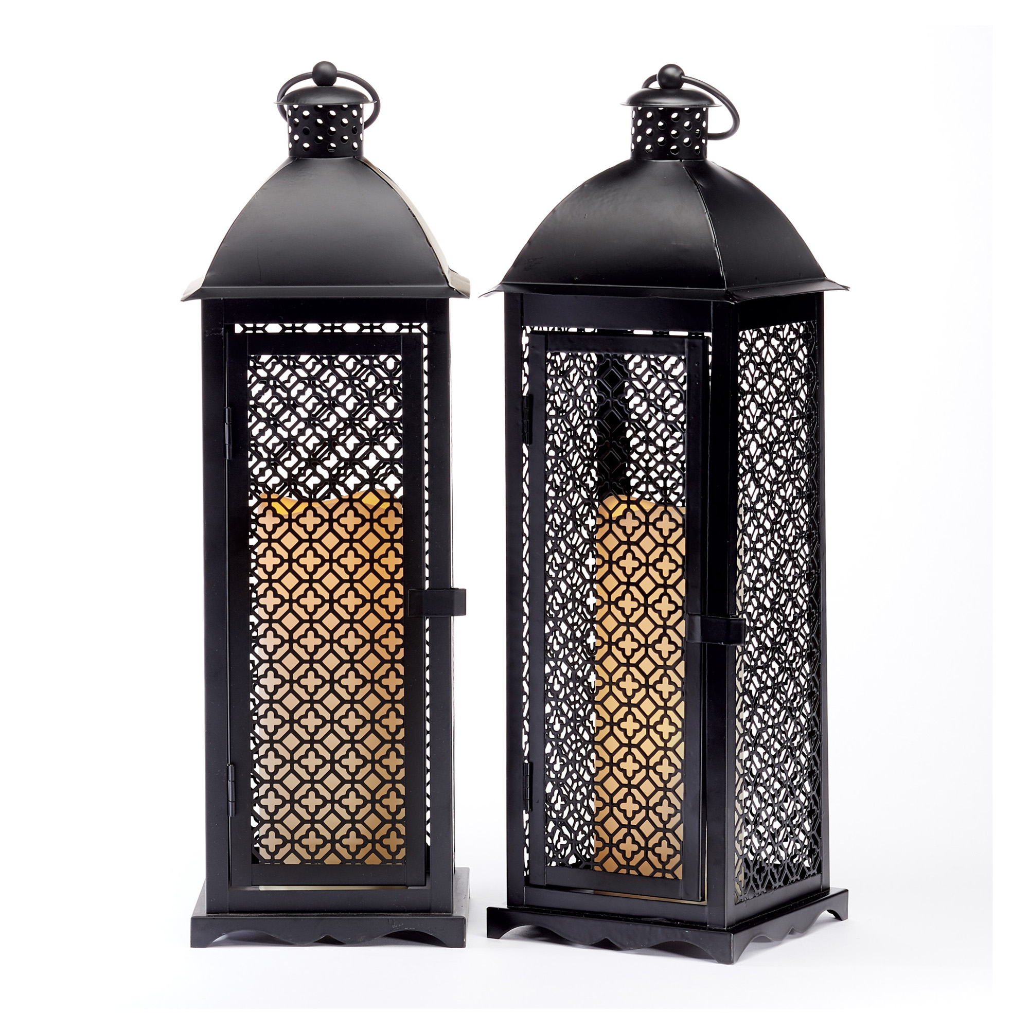 Quatrefoil Metal Flameless Lanterns, Set Of 2