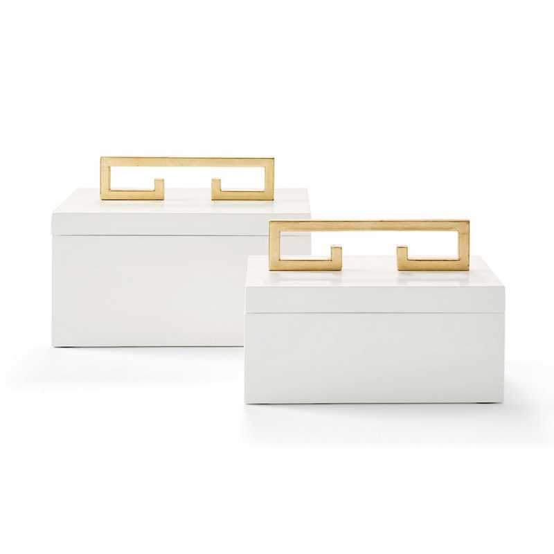 White Enameled Boxes With Gold Handles