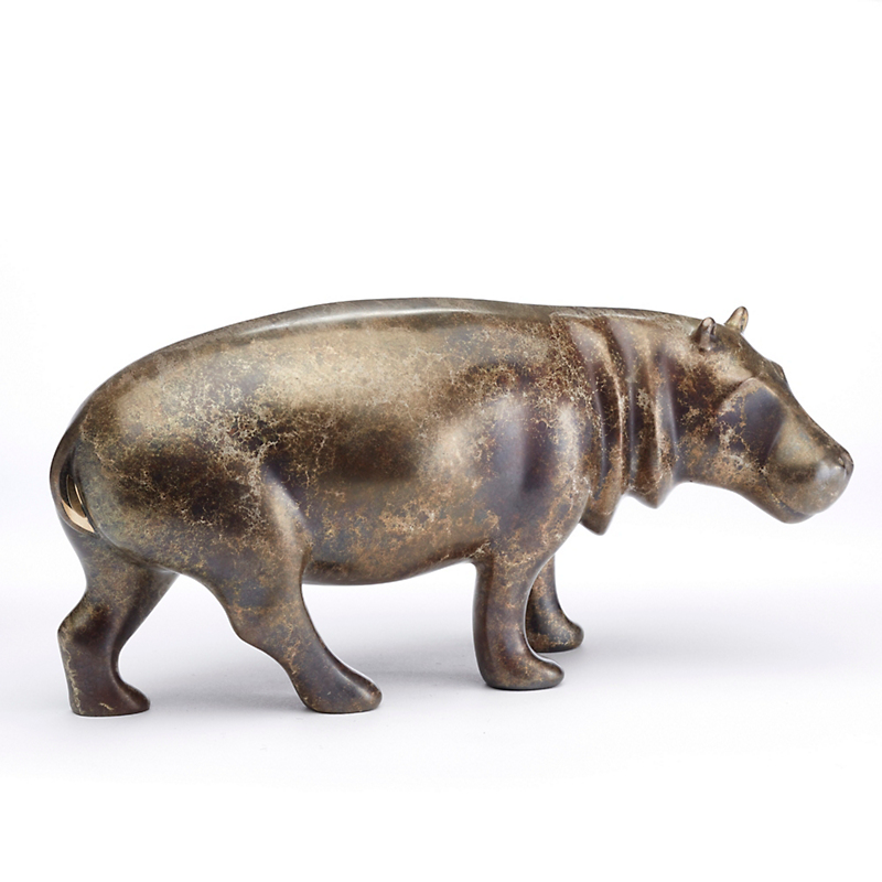 Legacy Edition Bronze Figure, Hippo In Silver Crackle