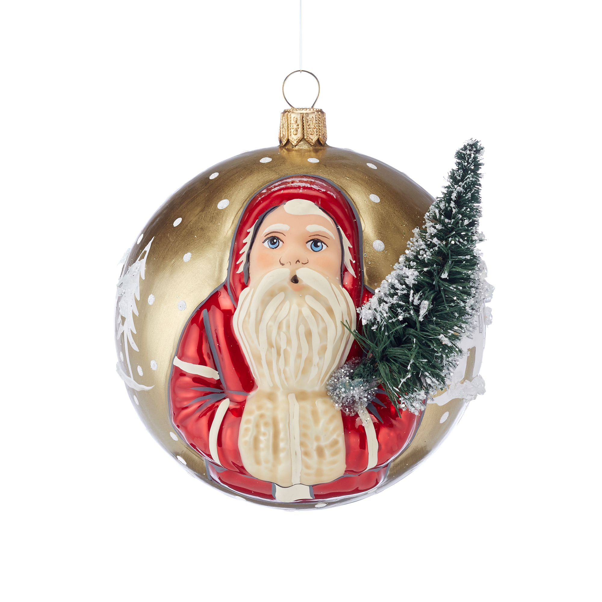 Vaillancourt Santa With Tree Ornament