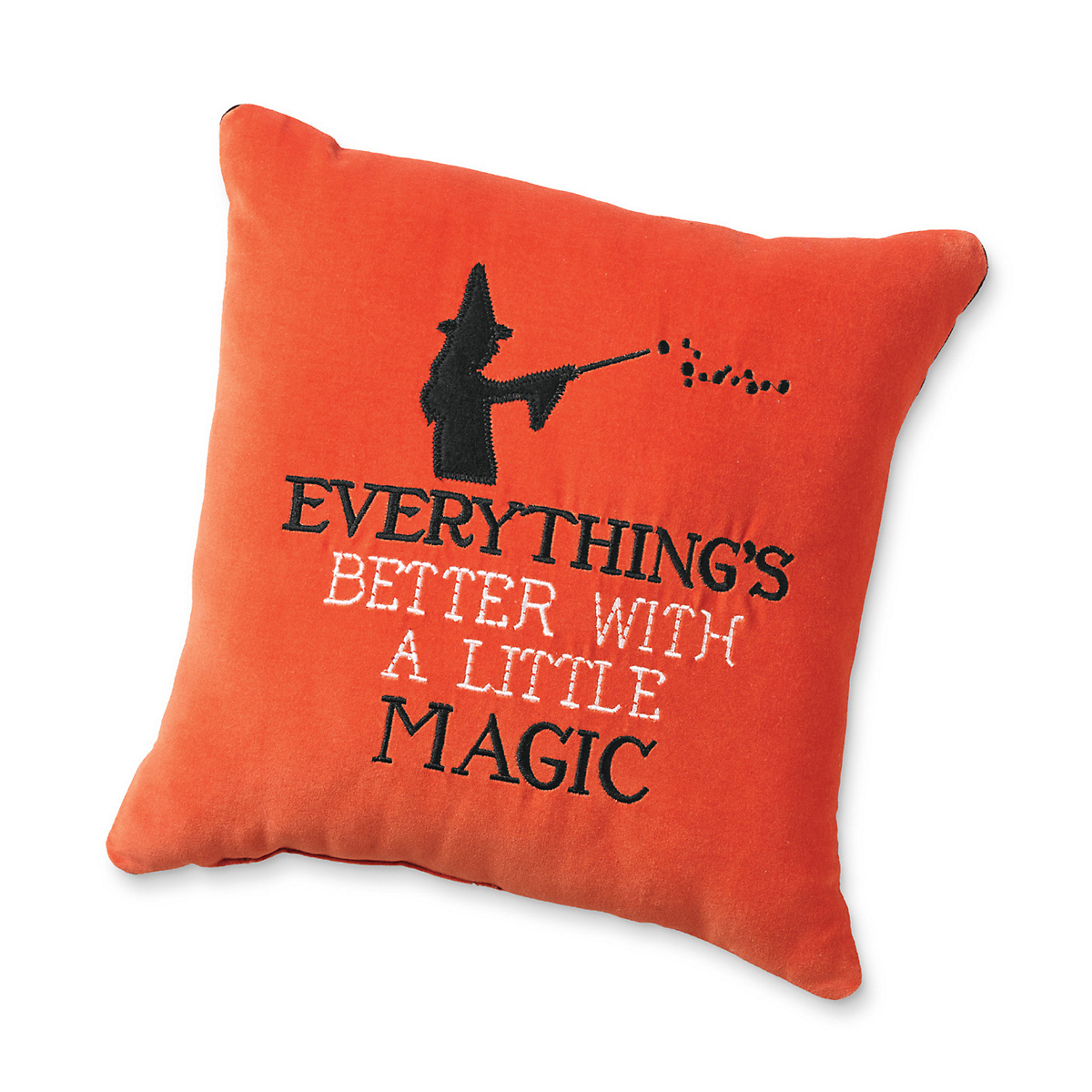 Halloween Embroidered 'Everything's Better' Pillow