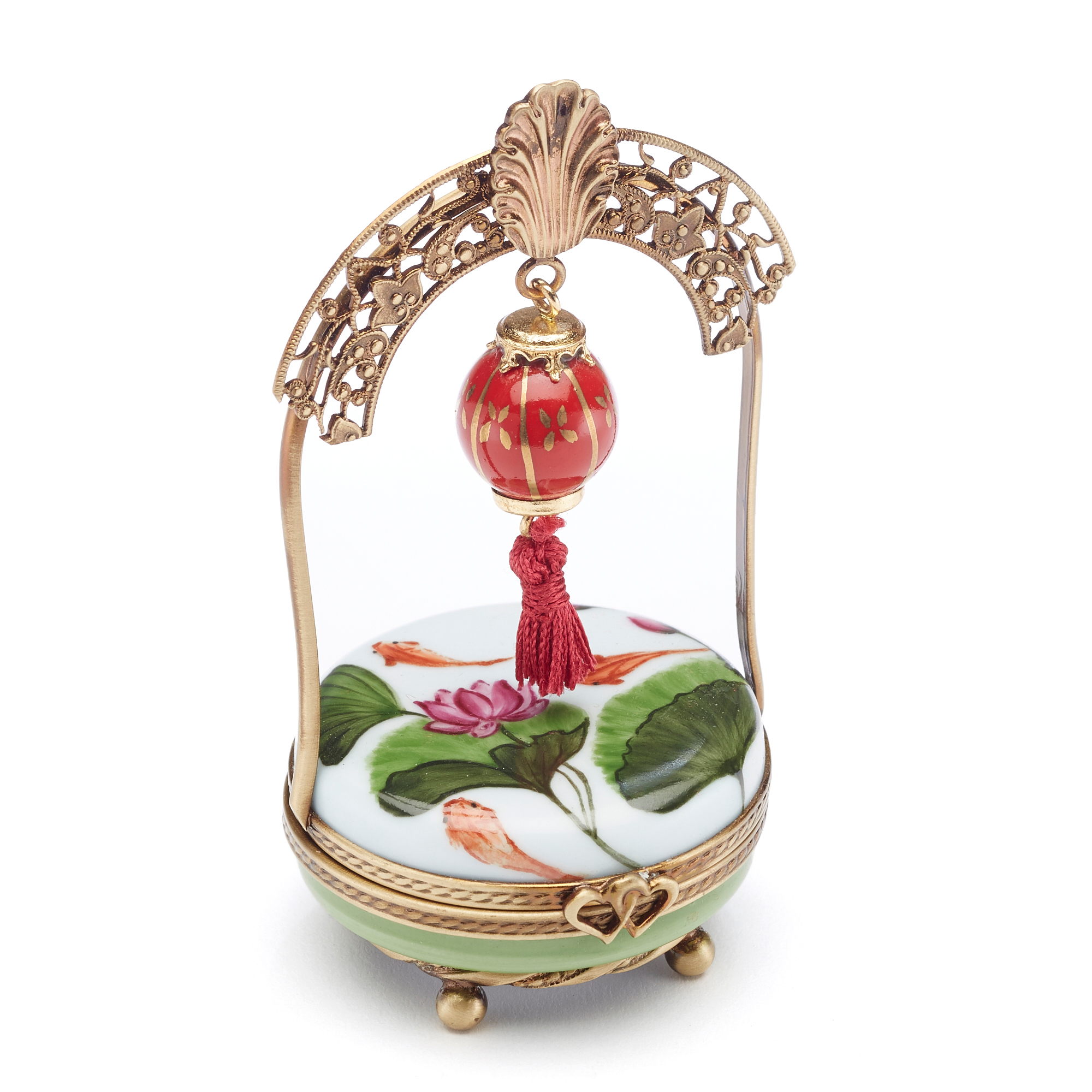 Limoges Chinoiserie  Chinese Lantern With Lotus Flower