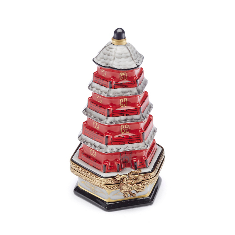 Limoges Chinoiserie Red Pagoda With Gingko Tree