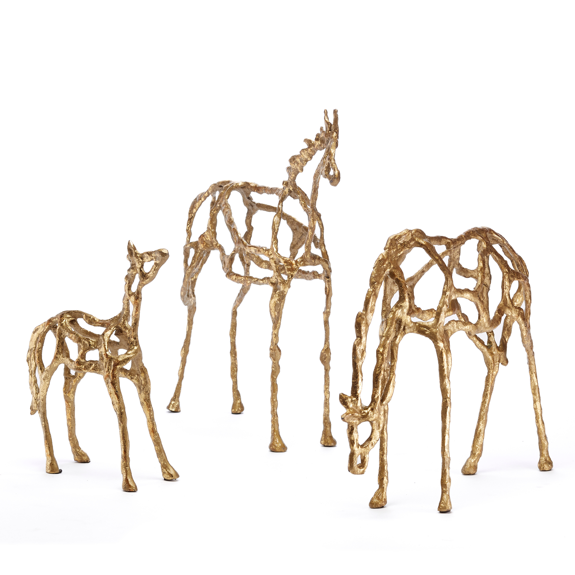Golden Iron Horse Sculptures