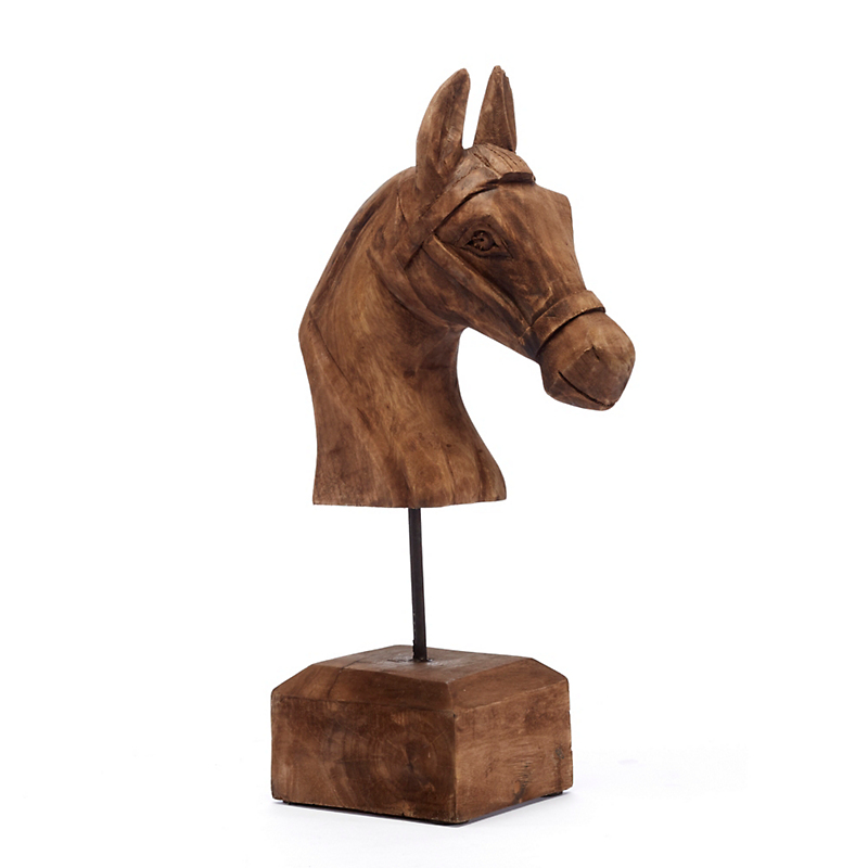 Carved Horse Head With Stand