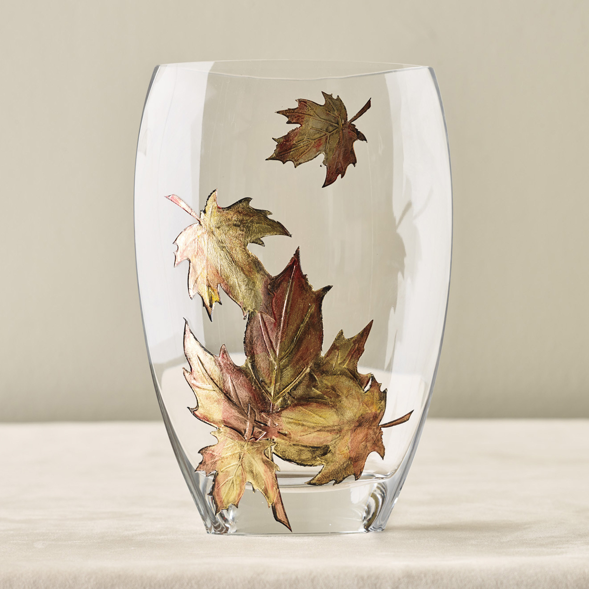 Fall Leaves Crystal Vase