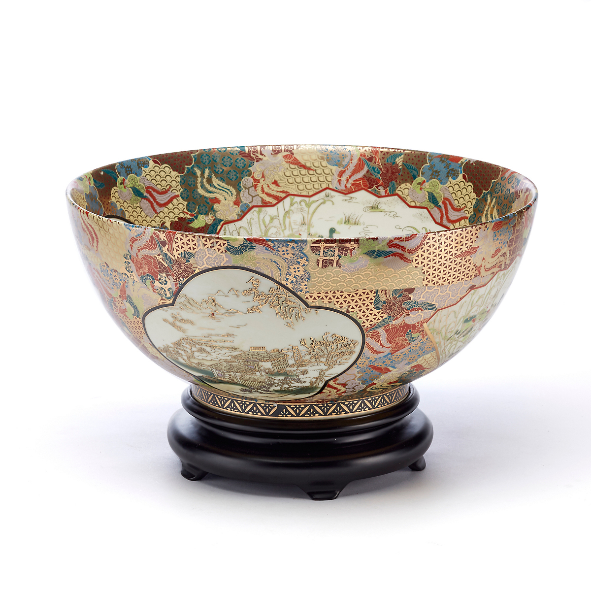 Satsuma Gold Imari Bowl With Stand