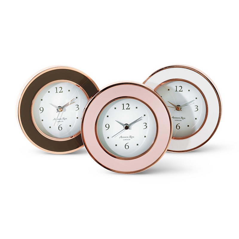 Enameled Alarm Clocks, Rose Gold