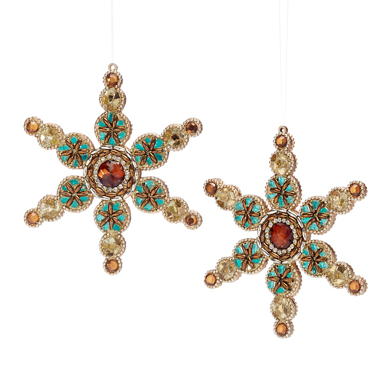 Winter Wonderland Jeweled Snowflake Ornaments, Set Of 2