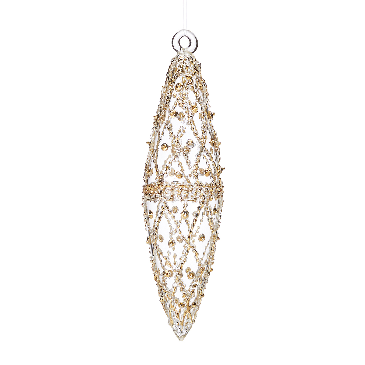 Winter Wonderland Clear & Gold Teardrop Ornament