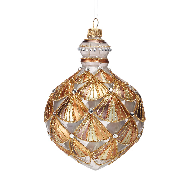 Winter Wonderland Gold Art Deco Ball Ornament