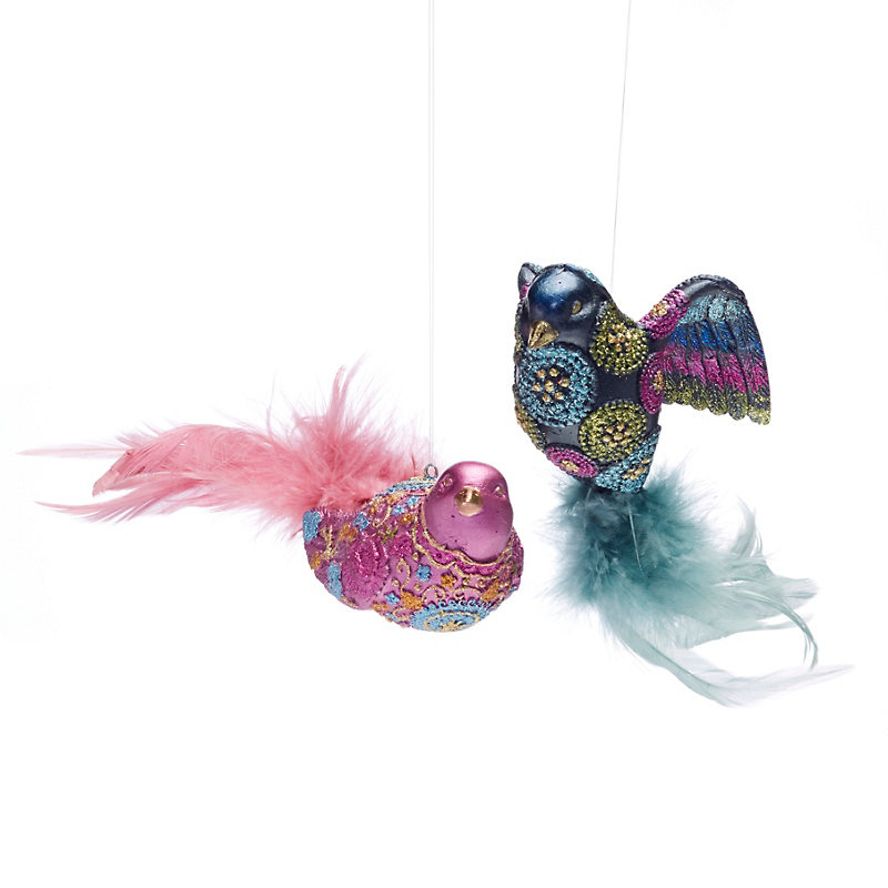 Ornate Birds Christmas Ornaments, Set Of 2