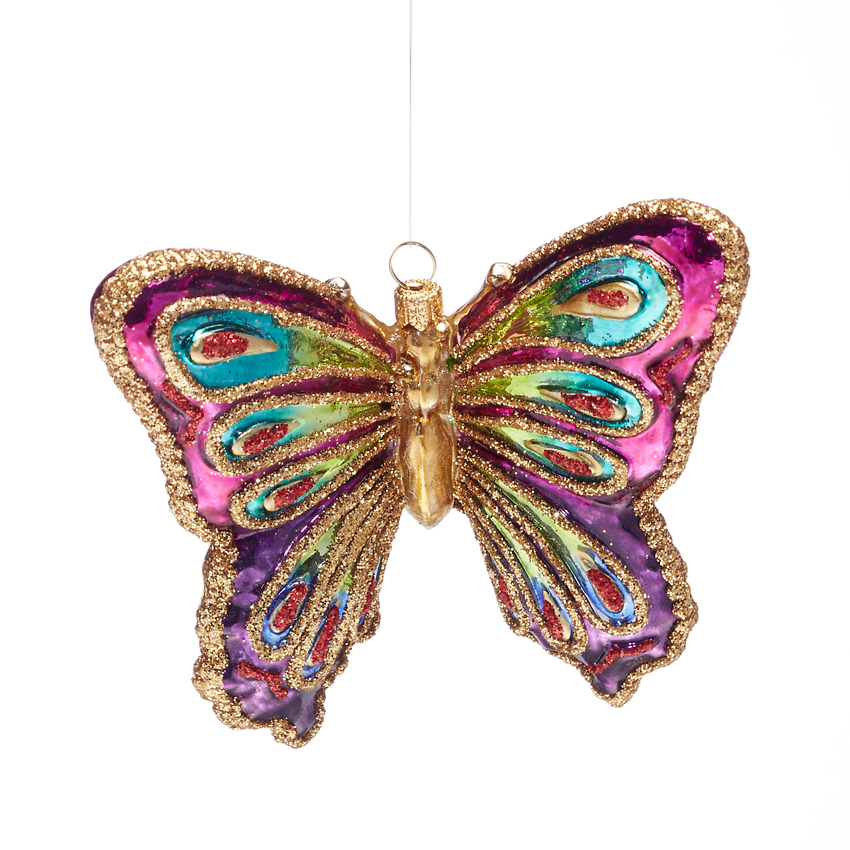 Fuchsia Pink Glass Butterfly Christmas Ornament