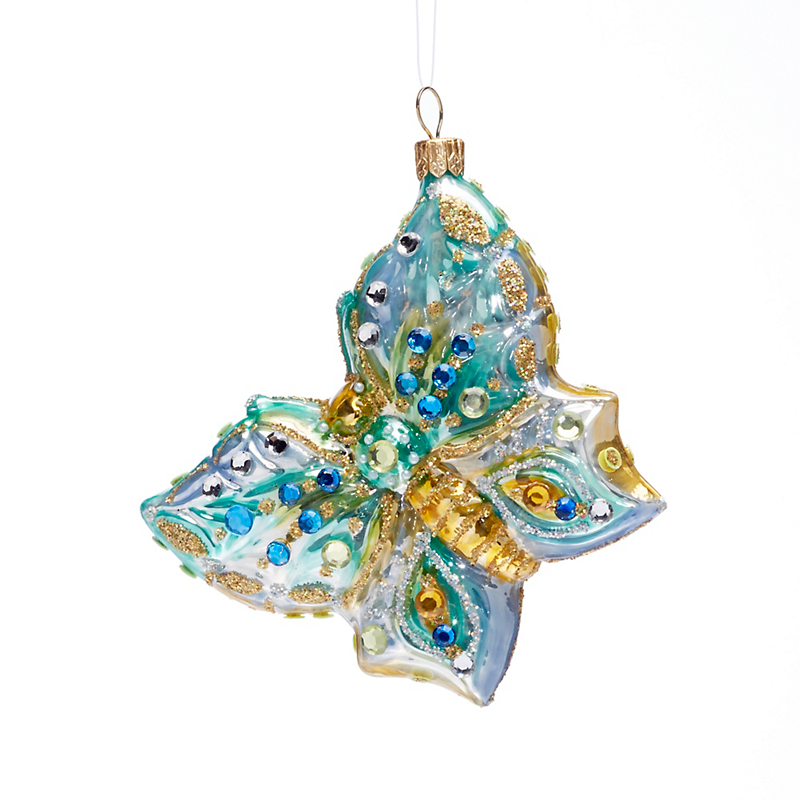 Turquoise & Gold Glass Butterfly Christmas Ornament