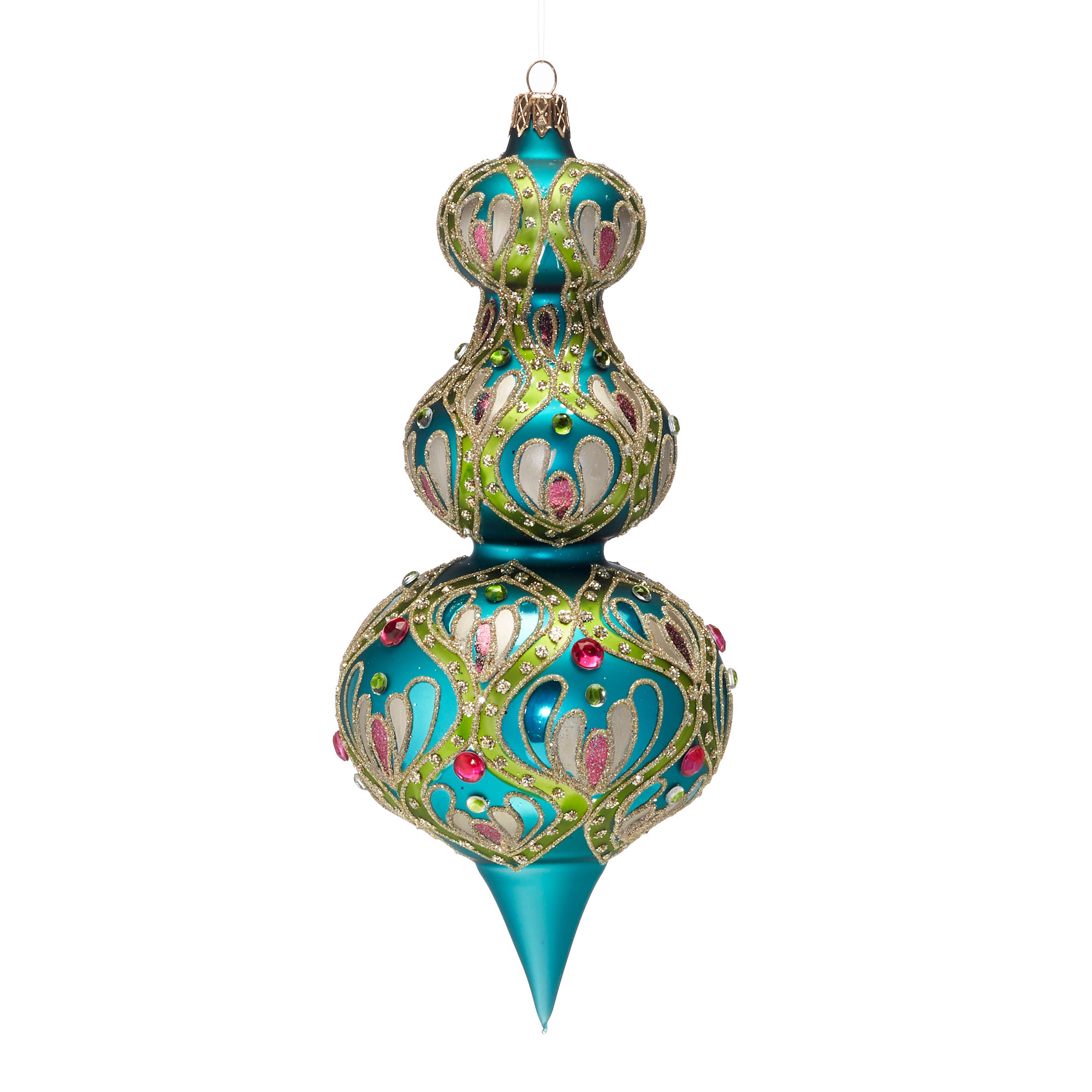 Jeweled Finial Christmas Ornament, Turquoise
