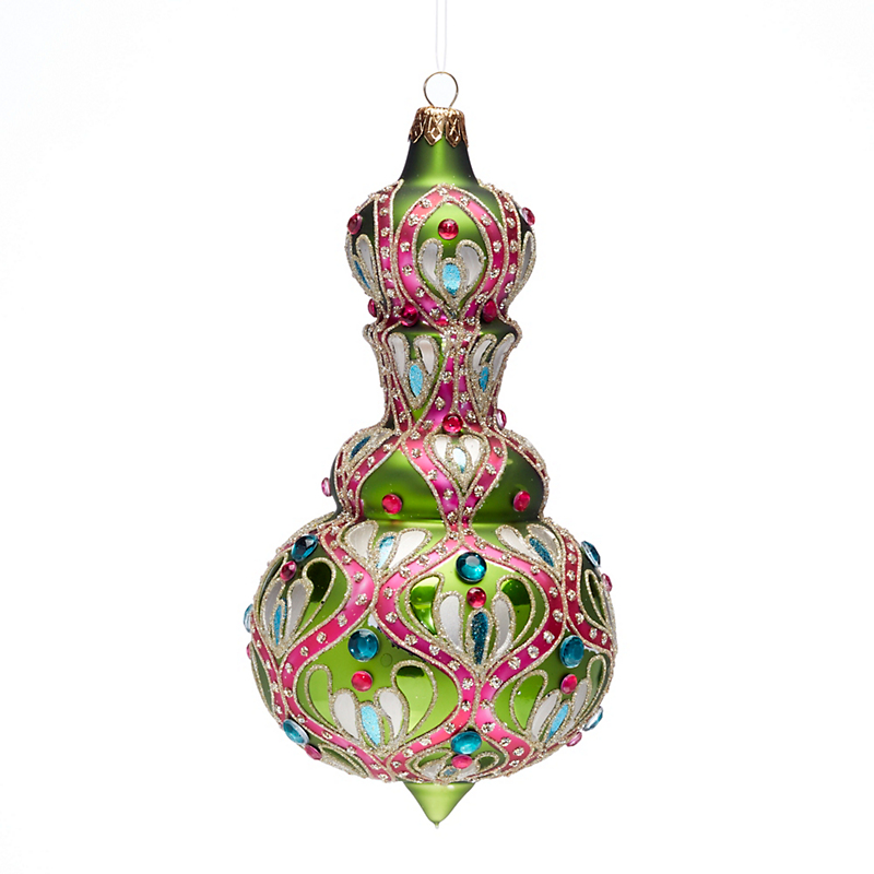 Jeweled Finial Christmas Ornament, Green