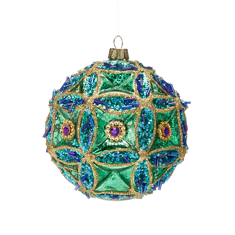 Turquoise & Green Jeweled Ball Christmas Ornament