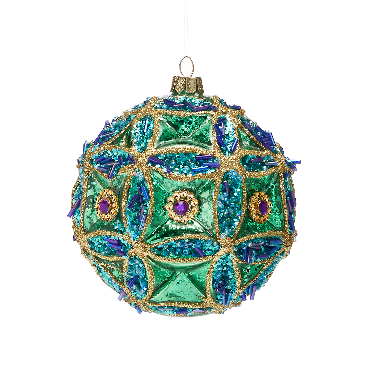 Turquoise green jeweled ball christmas ornament gump s