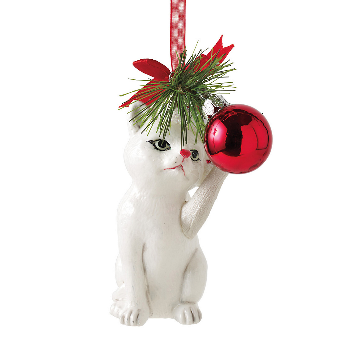 White Cat Christmas Ornament