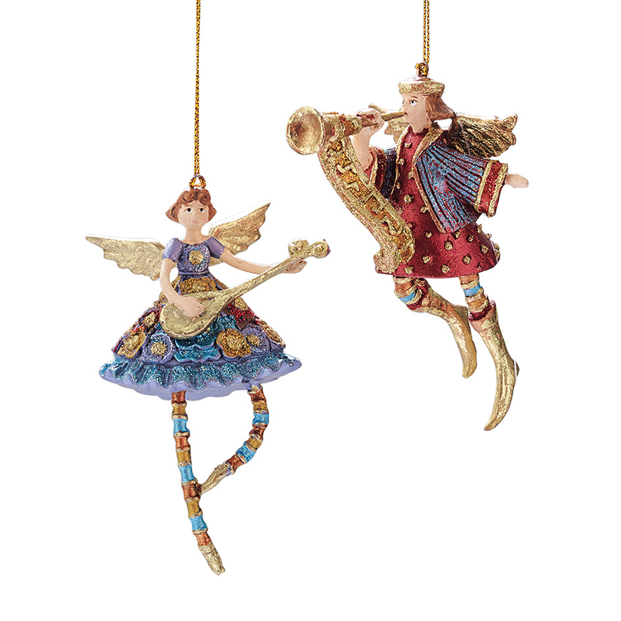 Lute & Trumpeter Angel Ornaments, Set Of 2