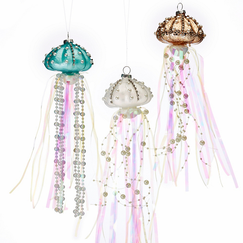 Under-The-Sea Jellyfish Christmas Ornaments, Set Of 3