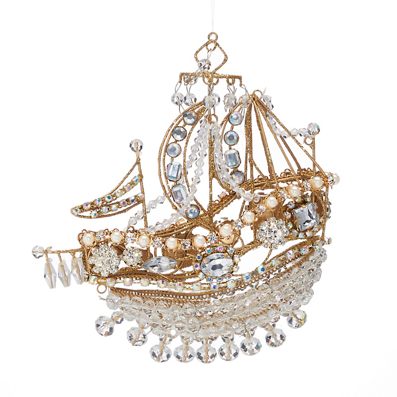 Jeweled Filigree Ship Christmas Ornament