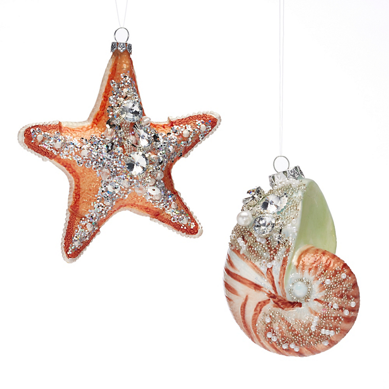 Under-The-Sea Set Of Shell & Starfish Christmas Ornament