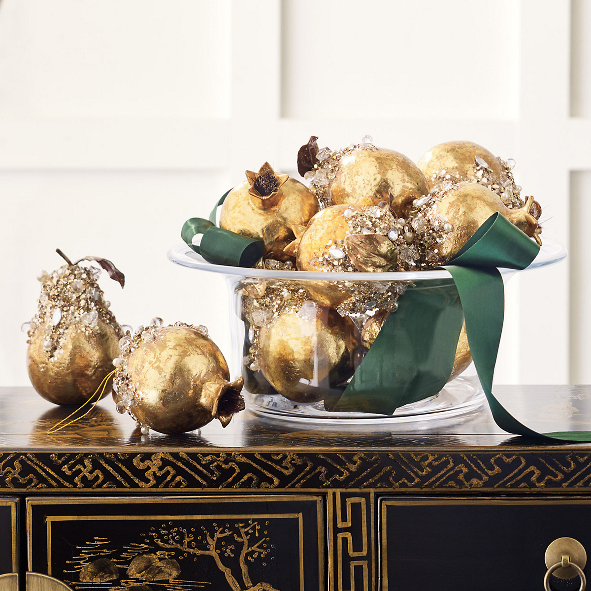 Bejeweled Pomegranate & Pear Ornaments