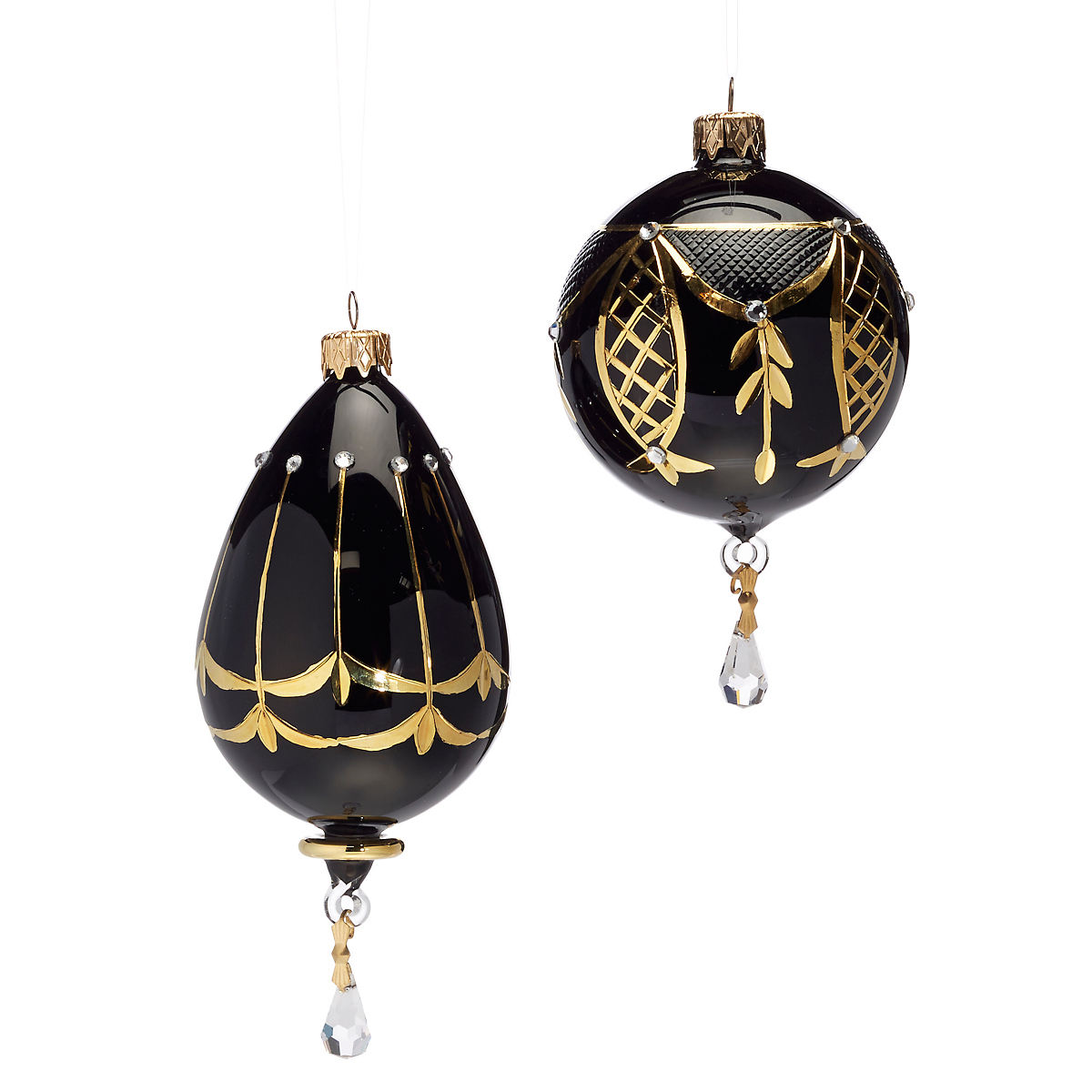 Gilded Glass Black & Gold Ornaments, Set Of 2