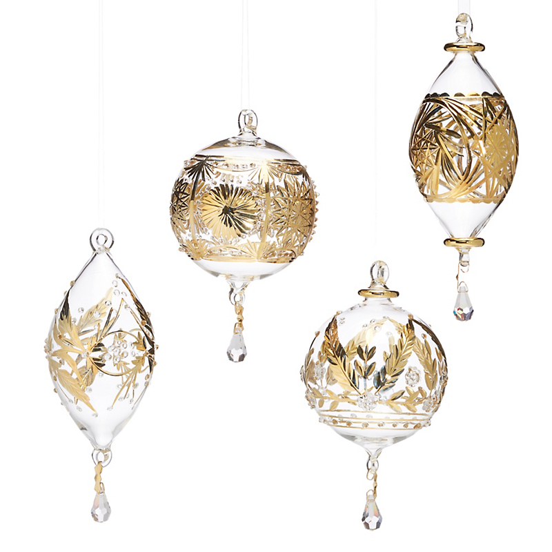 Gilded Glass Clear & Gold Ornaments, Set Of 4