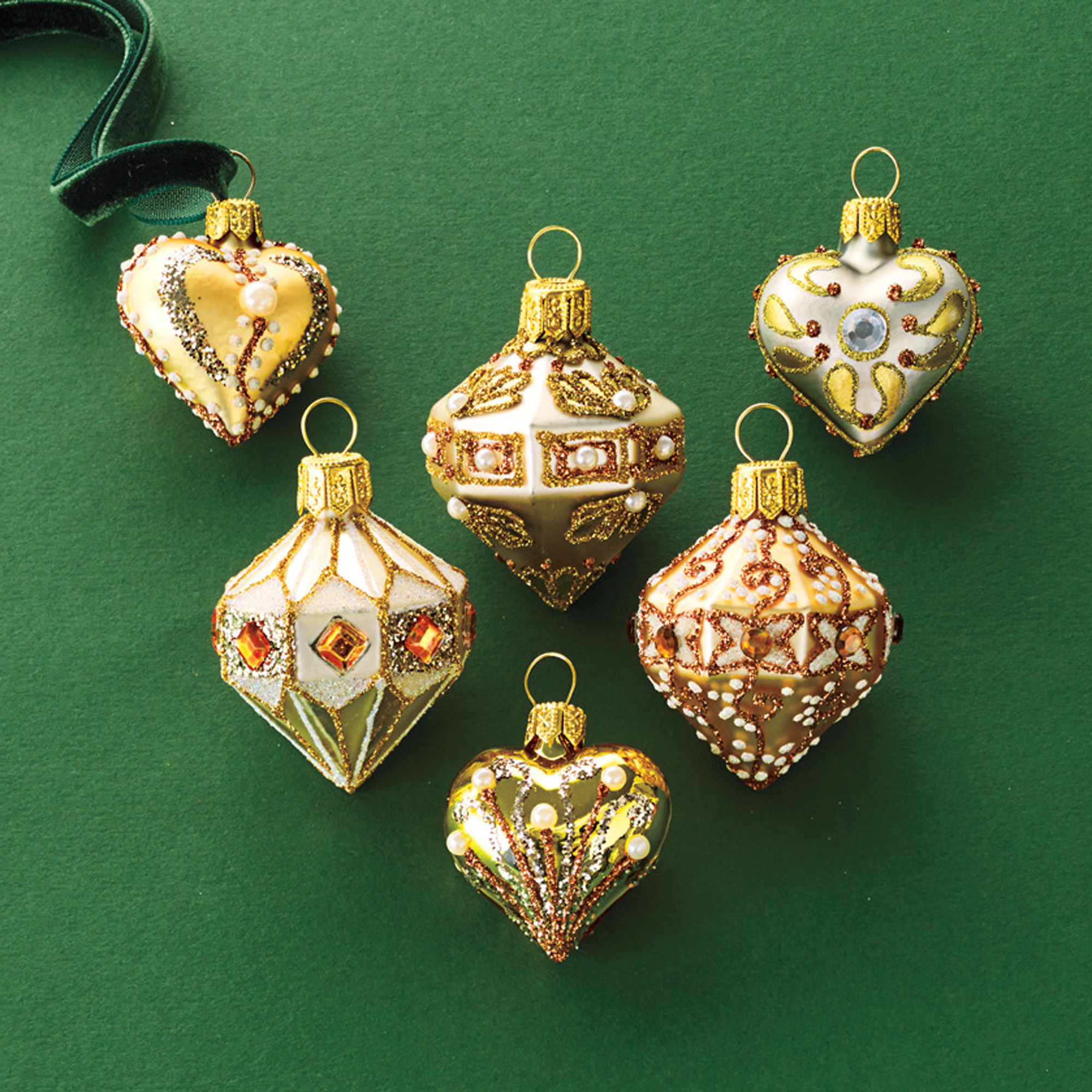 Mini Heart & Top Ornaments