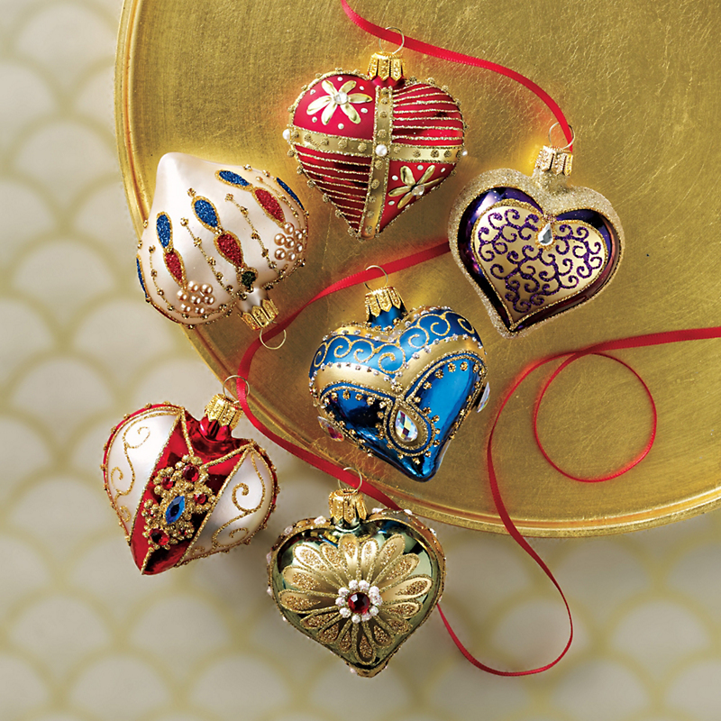 Embellished Mini Heart Ornaments