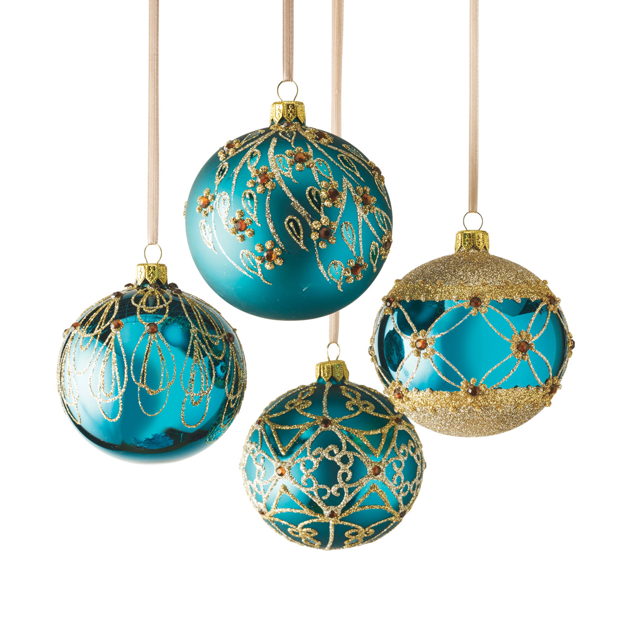 Teal & Gold Ball Ornament Set