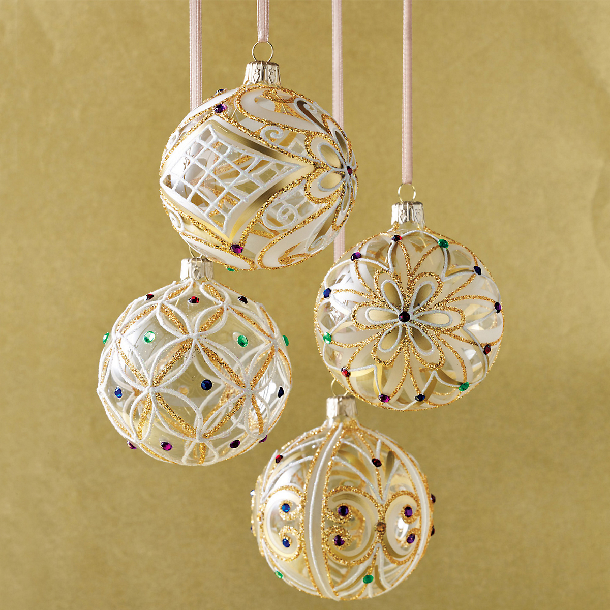 Jeweled Ball Ornaments, Set Of 4