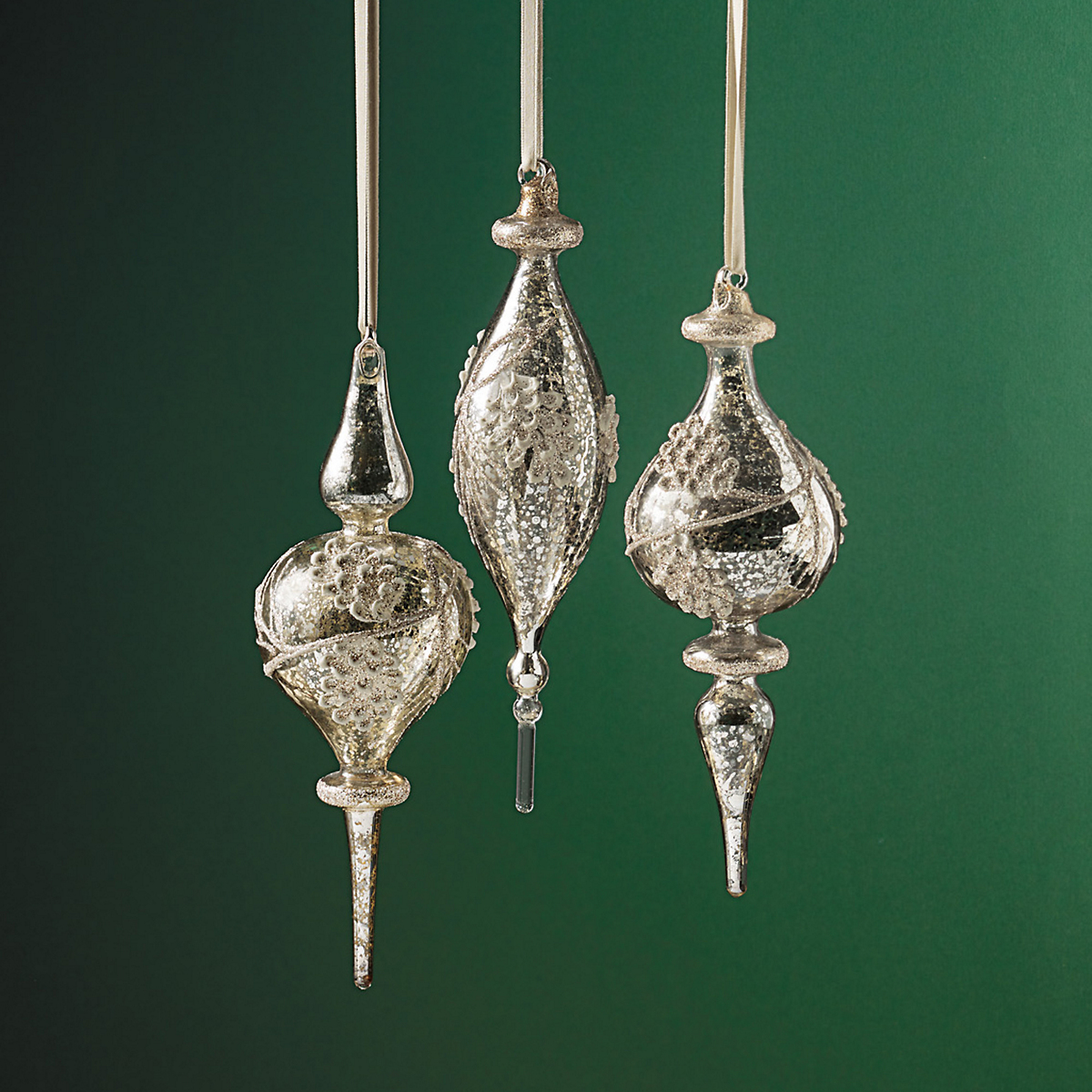 Silver Glass Finial Ornaments, Set Of 3