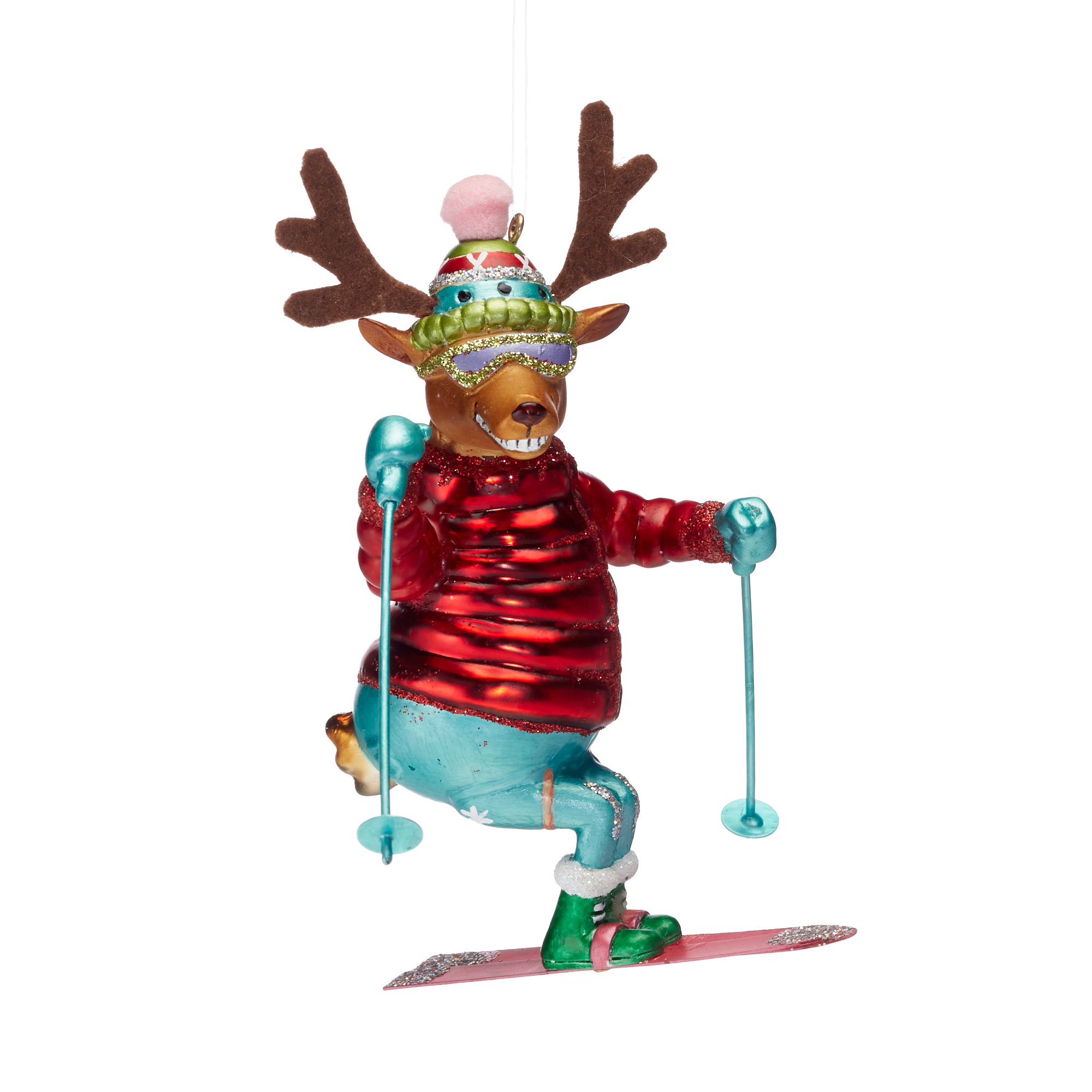 Festive Follies Skiing Deer Ornament