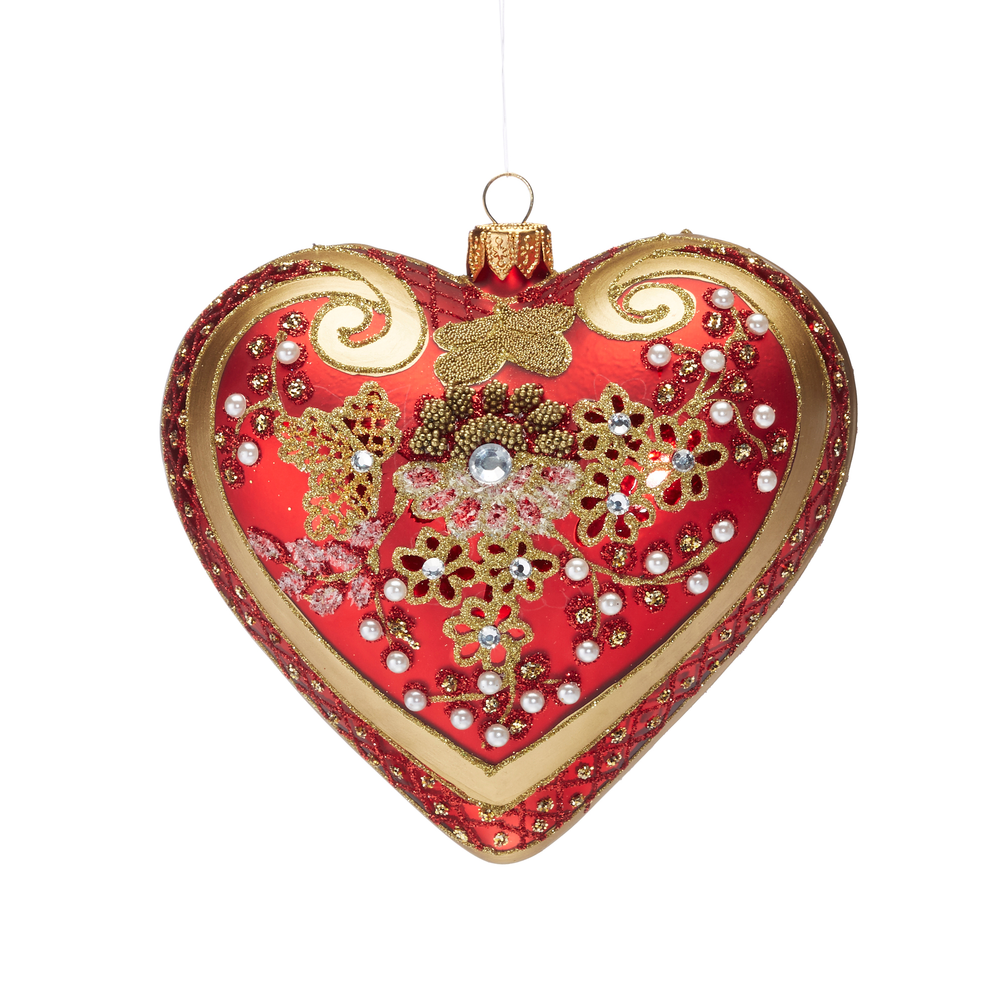 Embellished Red Heart Ornament