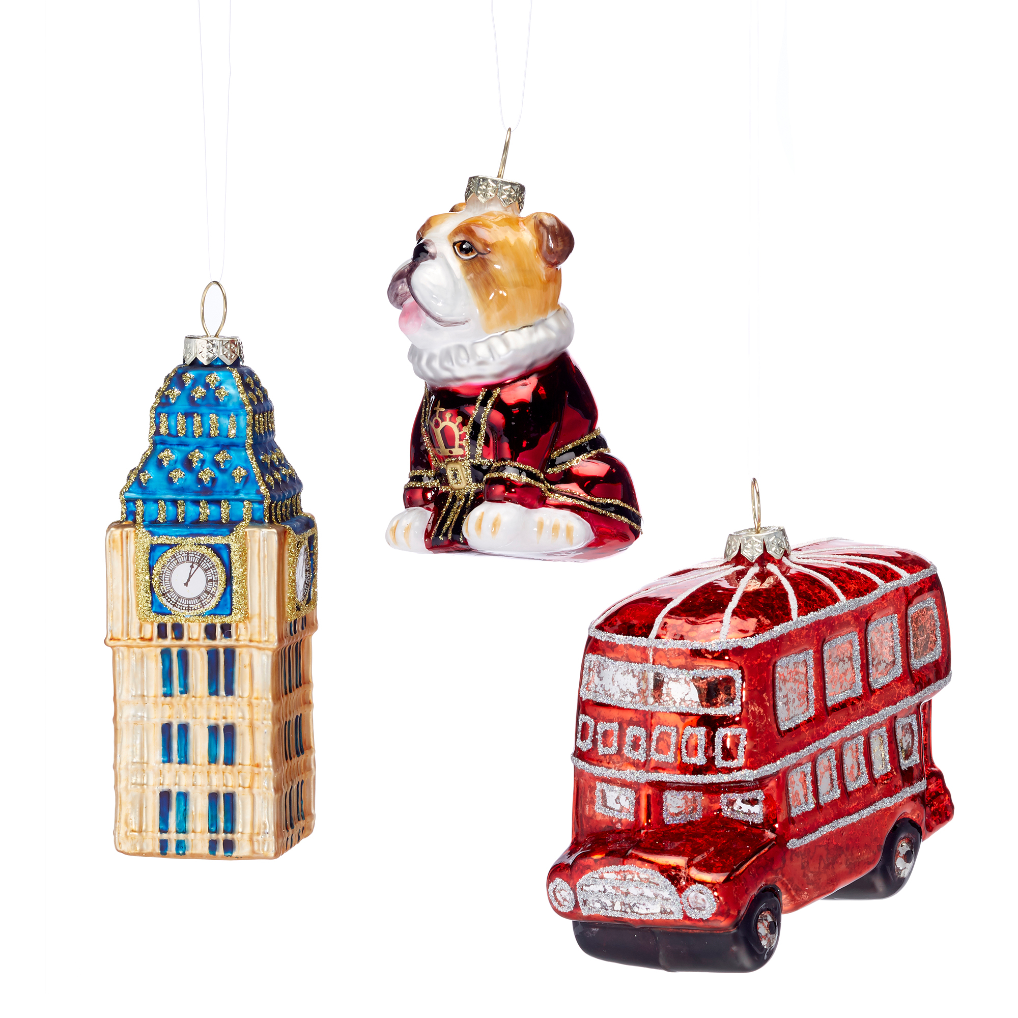 Bus, Bulldog & Big Ben Christmas Ornaments, Set Of 3