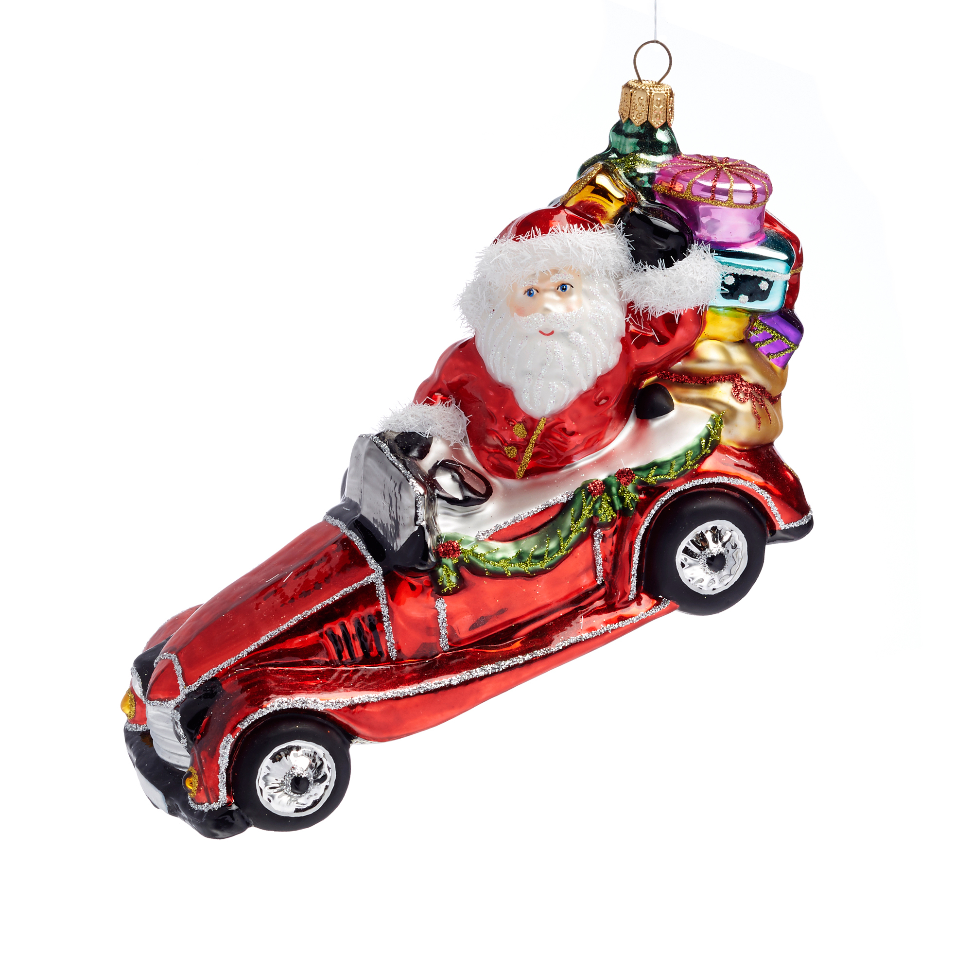 21st Century Santa In Vintage Car Christmas Ornament