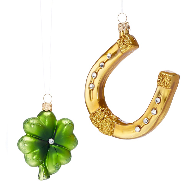Horseshoe & Clover Artisan Christmas Ornament Set