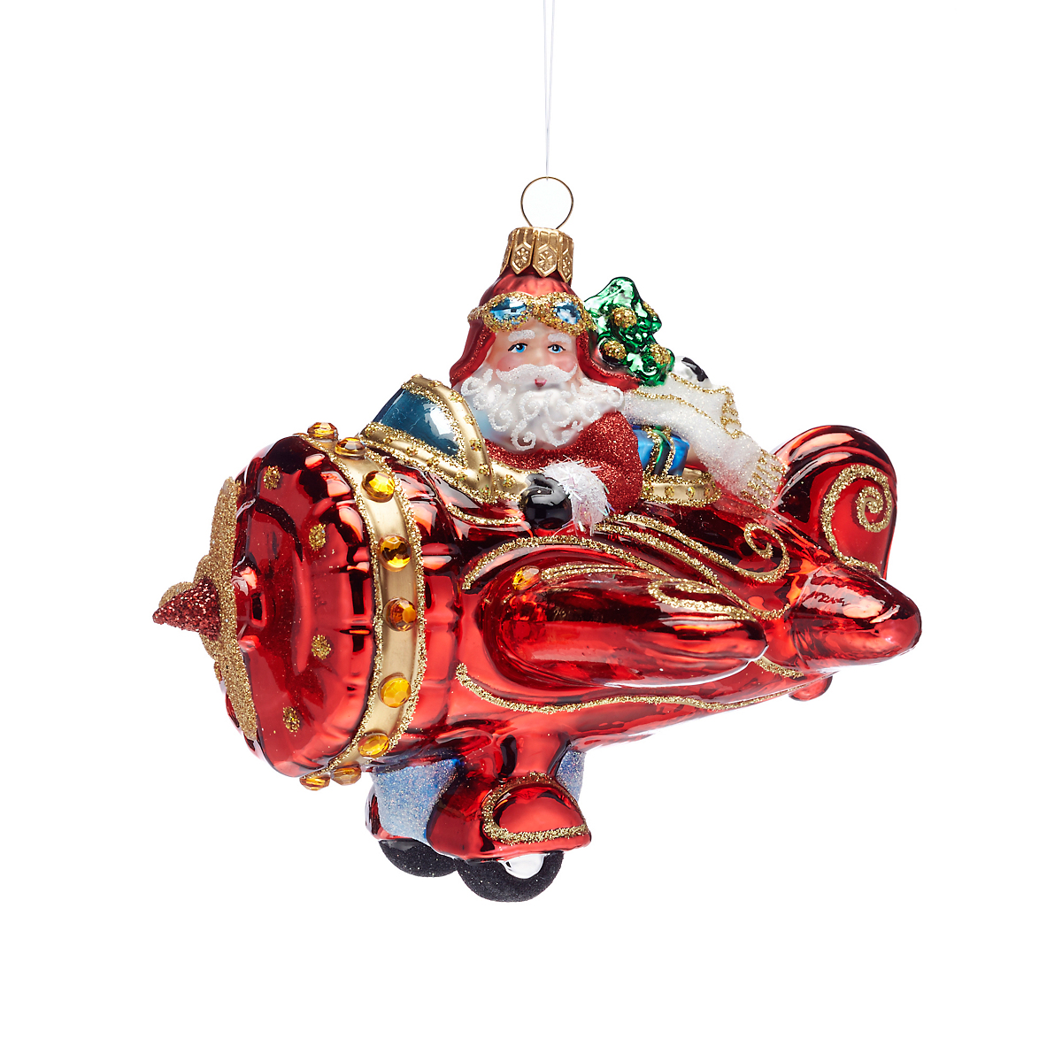 21st Century Santa In Airplane Christmas Ornament
