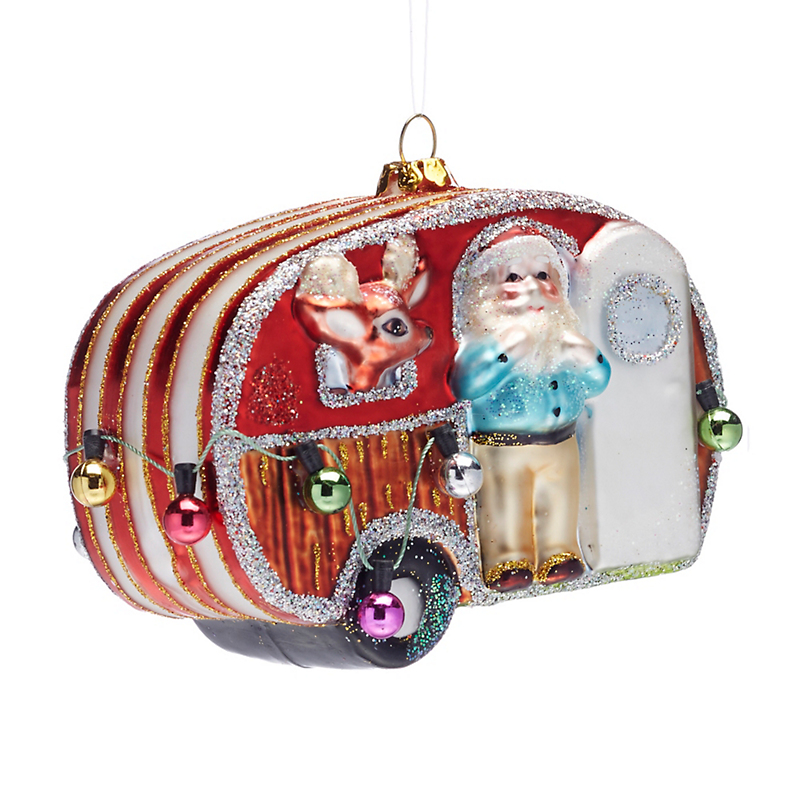 21st Century Santa In Trailer Christmas Ornament