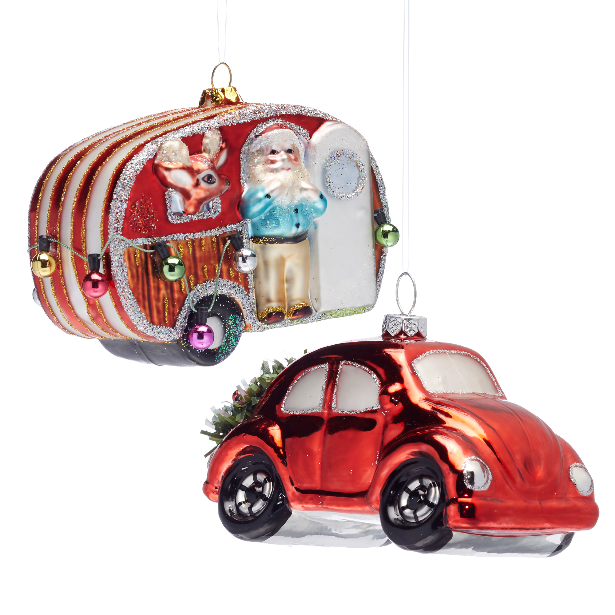21st Century Trailer & Red Car Christmas Ornament