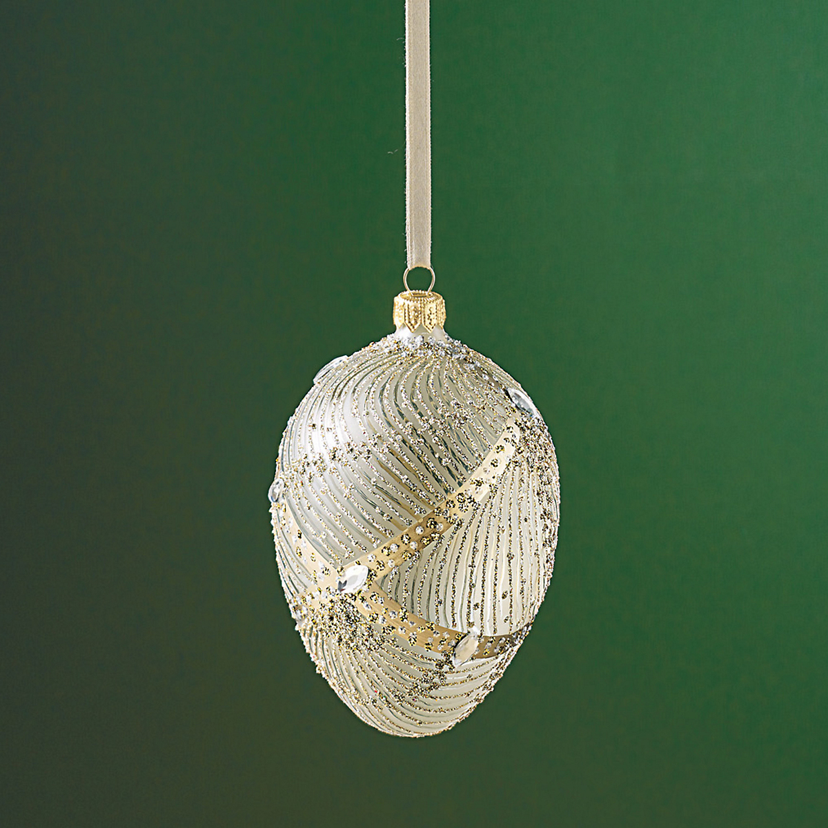Silvered Egg Ornament