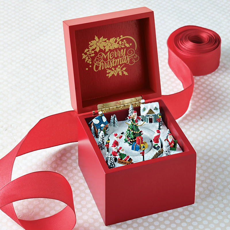 Santa's Village Red Music Box